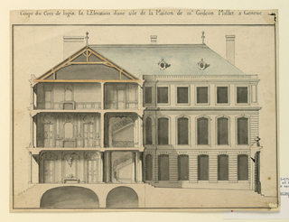 Drawing, Main and side elevations of the right wing of a house for Monsieur Gédéon Mallet in Geneva
