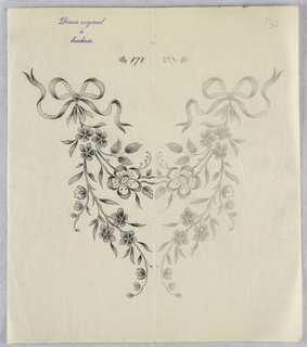"""Vertical rectangle. Designs of abstract floral patterns for panels and borders. Each drawing stamped at top: """"Dessin original a broderie."""" Designs numbered 178 (K)"""
