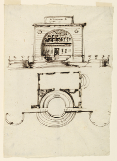 Drawing, Project for a building; point de vue in a park