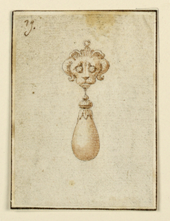 Drawing, Design for pendant with lion with horns, 16th century