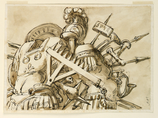 Drawing, Trophy of weapons