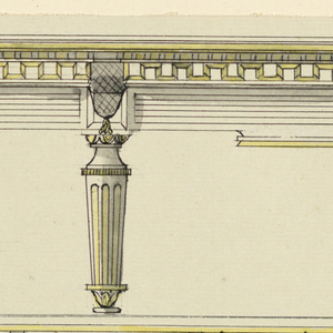 Plan and elevation of a billiard table, with six tapering and fluted legs. Side of table decorated with wall of Troy motif. Scale on left.