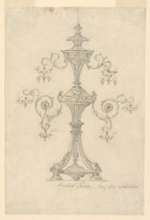 Elevation of an elaborate two tiered candelabra.  From each tier two curled foliage armatures extend out from either side with miniature chandeliers hanging from them.