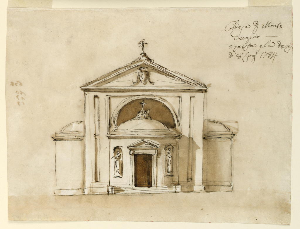 "Steps lead to the door in an apse which is flanked by statues in niches. Two angels crouch beside a cross on top of the dome and before a half-circular window. Triangular pediment with an escutcheon inside, and a cross on top. Apse laterally. Written, right top corner: ""Chiesa p[er] Monte/ vergina/ e guesta e la deci / di 8 Lug[li] 0 1784"". Recto: variation of teh design on obverse. Unfinished."