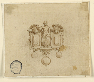 A woman is seated within a broken pediment, flanked by a pair of volutes and two upright faceted gems. Three pearls hanging below.