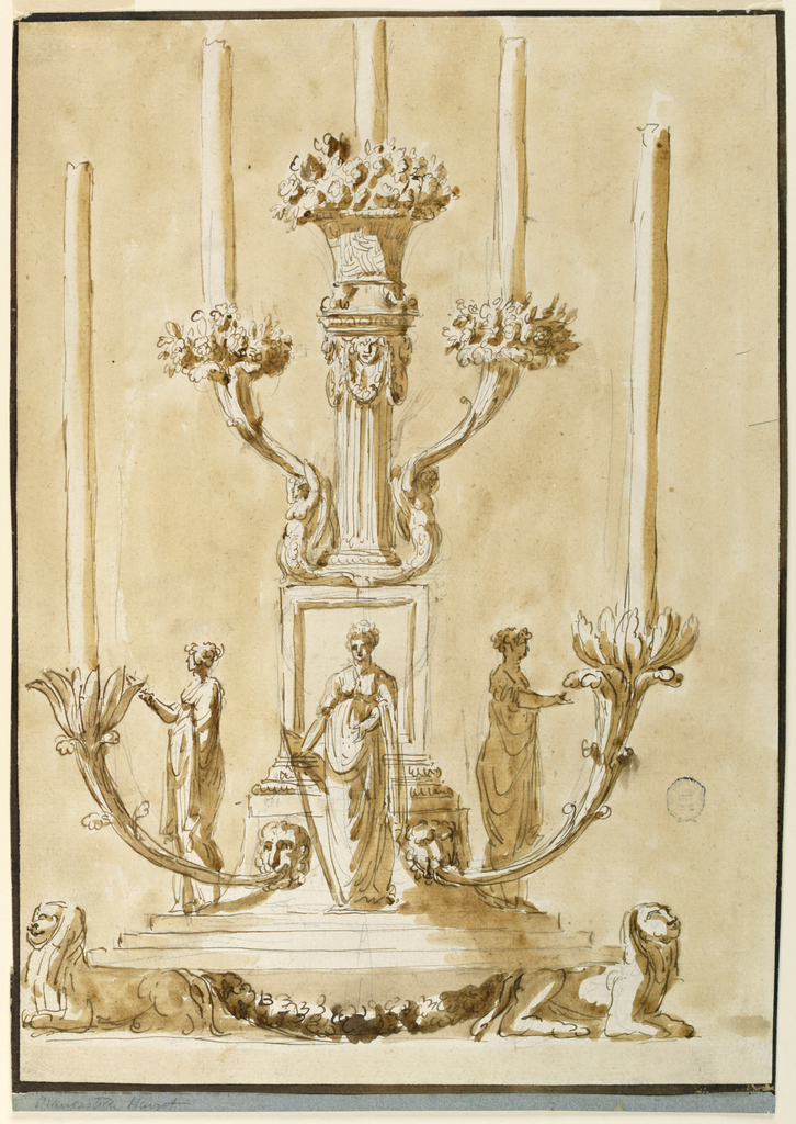 A stepped plinth supported by lions. Above this, three women in classical dress. At top, a column supports a flower basket. Four candelabra arms terminating in flowers branch out, two on each side. A fifth candle emerges from top.