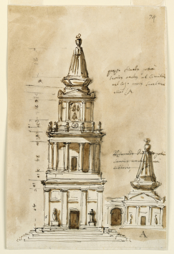 Drawing, Elevations of two sepulchral chapels