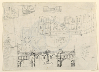 Sketches for a view of a town square with enclosing arcade. At center, an obelisk. One view in ink at bottom. Sketches in graphite in reverse at top.