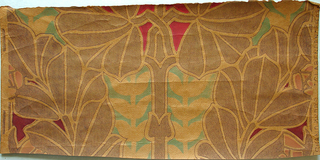 Art nouveau style foliate design. Printed in tan, red and green.