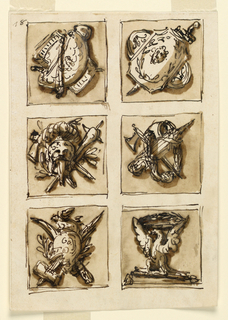 Drawing, Decoration of six panels