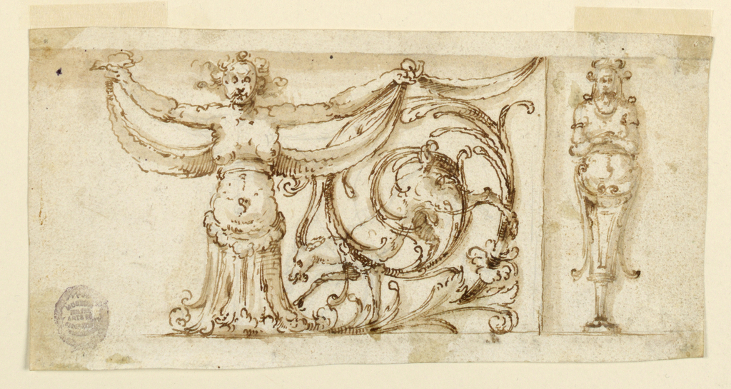 Caryatid holding drapery festoons with acanthus leaf scrolling around a goat, at right.