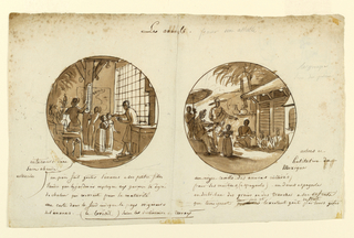 Sketches for two plates on the theme of pineapples.  The sketch on the left is a preliminary drawing for 1989-13-14.  In a greenhouse interior, a man in the right foreground offers a state of pinapple to two young children.  Another man in the left middle ground points to a themometer hanging on a verticle roof support to indicate the ideal temperature for ripening pineapples.  Potted pineapplies rest on shelves to his left.  A map of Brazil hangs on the rear wall, center.   The sketch to the right shows in the right foreground the exterior of a Mexican house.  A man in left middleground wearing a sombrero points to a man kneeling on the ground in front of the house picking pineapples.  Mexican pottery appears on a low wall, center middle ground, attached to the house.  In the left foreground, a woman shaded by an umbrella points to the kneeling man while offering pineapple slices to two small children.  On verso at upper left,(sideways), in graphite, is a circular sketch of woman and three children in an interior figures and at right sketch of a duck.