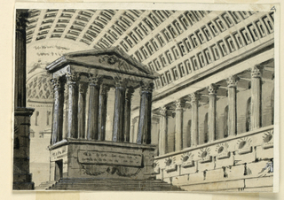 Horizontal rectangle. Interior of huge hall with sarcophagi, decorated with a coffered barrel vault, seen towards the apse to which steps are leading up. The hall has a side nave upon a high structure and separated from the main nave by columns. A mausoleum stands in the main nave.