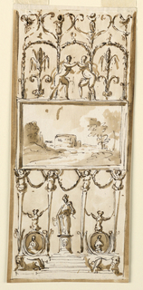 Vertical rectangle. Below is a pedestal with steps, between crouching lions leading to it. Upon it stand four high gaines supporting the oblong frame of a landscape having the width fo the panel. The gaines are above half-figures with raised arms, and connected by festoons. In the central interval stands a female statue with fasces beside. In the lateral intervals are oval medallions with busts, with female half-figures as a crest. Above the frame are women in front and in the center of three arches formed by garlands, with scrolls and two standing winged putti on top. Laterally and below is the usual background.