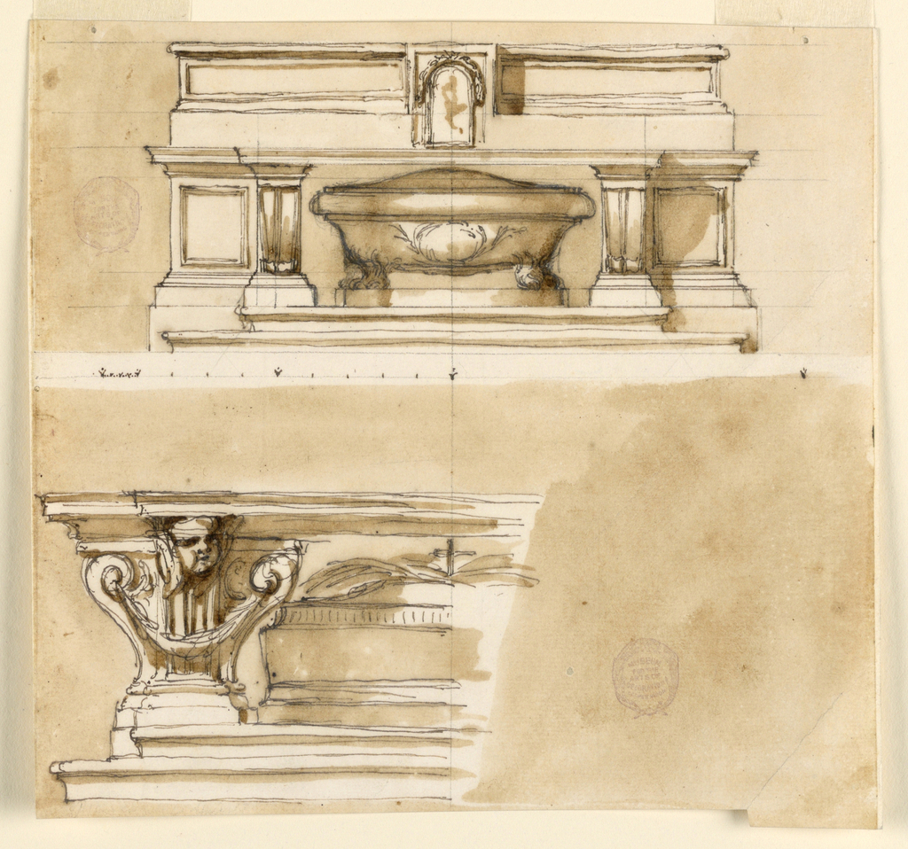Horizontal rectangle. Above is a variation of 1938-88-1365, with a different design of the ledge and of the tabernacle. Below is the scale. Below: the left half is shown. The top is supported by a pilaster strip with a cherub as a capital and by two lateral volutes. The sarcophagus is angular and has on top a cross above palm branches. Colored background.