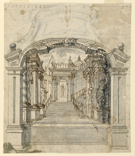 Vertical rectangle showing an arched doorway, the top of which is sketched in graphite but not inked. In the middle ground, sculptures and terms line walls leading to a staircase. In the background, a pyramid and dome visible behind an architectural niche with statue.