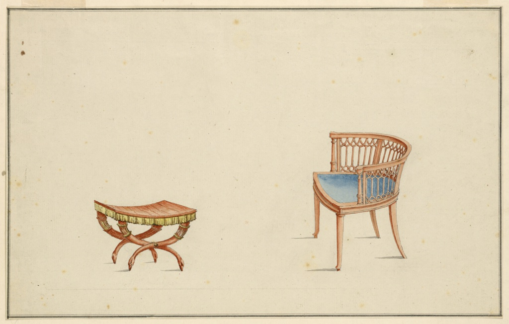 Drawing, Design for Armchair and Stool