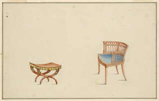 Left: Egyptian style curule stool, x-shaped legs terminating in bird heads. Seat is fringed in gold color. Right: Armchair, round back pierced in a gothic design, legs slightly splayed, upholstered blue seat.