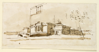 Architectural drawing of a building. Shown is the central part from the left corner of the front. Partly drawn over an account and writing exercises. More writing and an account is above the right part of the drawing. In the center above, the beginning of a rough sketch of the central part of the facade.