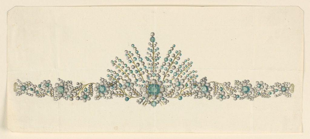 Jewelry design for a coronet (small crown). In the center, a big palmette from which rinceaux are springing. Green and white diamonds are contrasted.