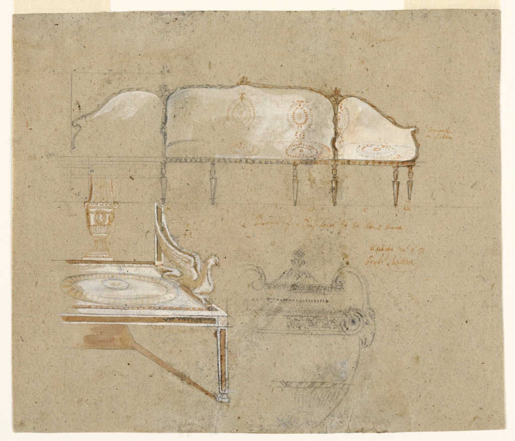 Drawing, Design for a Confidante, an Etruscan Arm Chair, and a Silver Cup