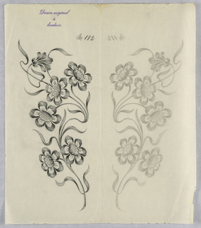 """Vertical rectangle. Designs of abstract floral patterns for panels and borders. Each drawing stamped at top: """"Dessin original a broderie."""" Designs numbered 182 (M)"""