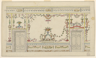Wall elevation with grotesque decoration. Two doors with alternative surrounds. Wall decorated with griffins and candelabrum.  Entablature shows guilloche and three tablets with figures.
