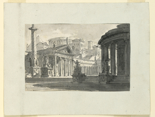 Horizontal rectangle. Square in antique town. Column with sculptures at left, circular building with stairs leading up flanked by statues on pedestals at right.