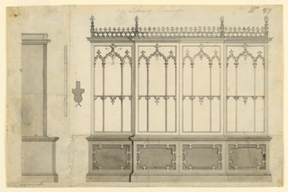 "A front elevation of a breakfront bookcase in Gothic style  at right. Side elevation and section of moulding ""a"" at left"