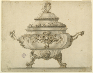 Design for a tureen with alternative suggestions. On top of cover is a putto supporting an escutcheon with a crown. C-and S-curve decorations throughout. Scrolling feet and handles with masks. Right handle is pierced.