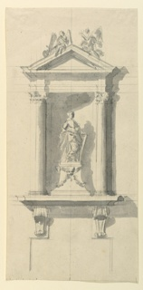 Drawing, Niche with Statue