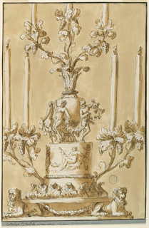 Design for a candlestick. At the base, to crouching lions. Above, four candlesticks grow from grape vines. Satyrs dance around a central baluster form.