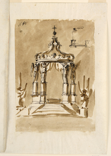 "Vertical rectangle. The mensa stands upon a half-circular platform to which steps lead. Four angels stand upon parts of of columns upon high pedestals and support half of a crown with curtains as baldachin. Laterally in front are two statues of angels with candles. Above, at right, is a rough pen sketch with  the idea of having the angels standing immediately upon the pedestals. Written in the upper left corner ""No3"" corrected to ""61""."