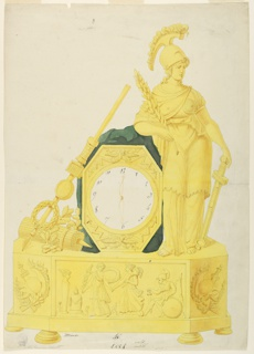 Design for an elaborate clock.  Intended to be executed in green and gilded bronze. The dial is framed by an oblong, with thunderbolts above and below.  It is inserted in a rock, upon which a female figure (Minerva) leans, at right, and a spear and other military paraphernalia, at left.  Faces and a wreath are placed on the spear.  The base is octagonal in shape.  At the front is a scene in relief (sacrifice to Minerva).  Represented at the oblique sides are trophies.  Below are knobs.  Inscriptions and markings at the lower center.