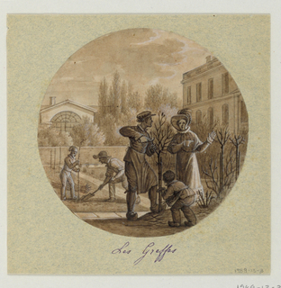 Design for a painted porcelain plate, rondel. Scene in garden behind a grand house, right middleground.  The lady of the house, center foreground, discusses the grafting of bushes with the gardener.  A small child plays, right foreground.  Two figures of gardener's assistants in left middleground; one holds the sapling while the other fills dirt around its roots.  An orangerie, left background, amidst trees and bushes, appears behind a low garden wall.