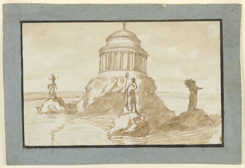 Horizontal rectangle. Shown obliquely from one of the statues. The enclosure of the round, probably ovoidal basin is shown at the back. In it rises a rock with four lateral lower ledges, upon which statues stand, Minerva at the front left, Neptune at right. The third visible one may represent Ceres. Upon the rock stands a circular pavilion with a colonnade and a dome, with a figure on top. Dark framing band.