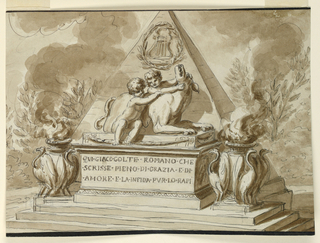 A pyramid monument decorated with a lyre within a laurel wreath, and the child figures of Romulus and Remus with the she-wolf. On either side, a brazier with birds. Inscription at front.