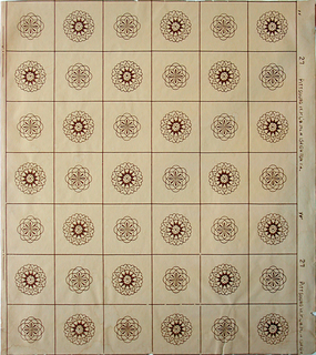 Tile pattern with geometricized floral motifs inset within framework. Printed in brown on light brown ground.