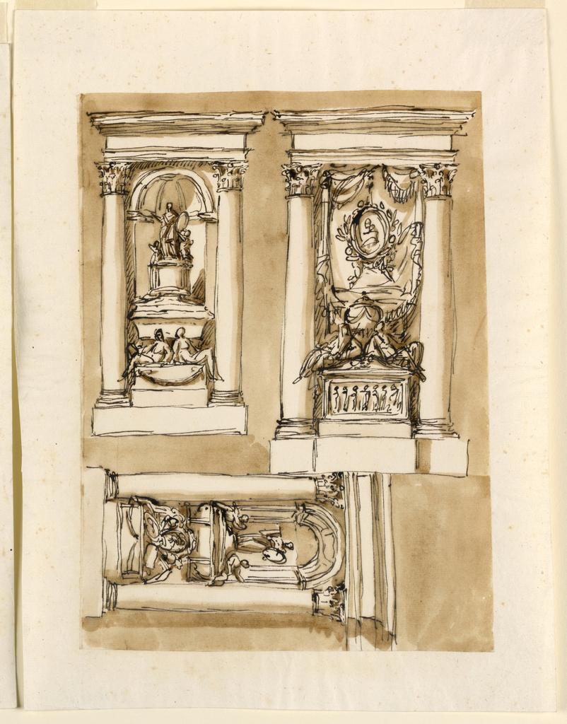 Drawing, Three tombs