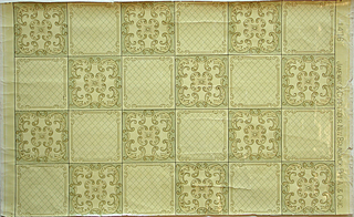 Sanitary paper; imitation tile or grid design printed with waterproof varnish, pale green, gray-yellow on pale yellow. Pattern number 1476.
