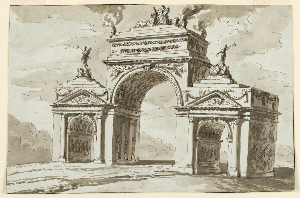 Obliquely shown. The central archway is flanked by two smaller ones upon which putti of Victory stand between groups of seated captives. Upon the central arch stands a pedestal; its front bears the inscription of which the first line is intelligible. On top is a group of figures and lions upon steps. Urns with flames stand at the corners of the lowest step. Trees form the background of the square. More or less of the framing stripes have been cut off at the edges.
