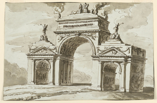 Drawing, Triumphal arch in honor of the emperor