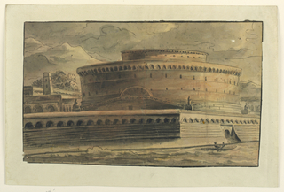 Design for theater depicting an enormous circular building on the riverside surrounded by wall; boat with figure rowing on the river.