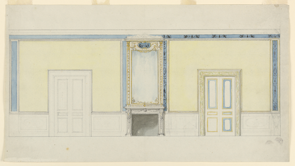 The dado is outlined with pencil. Two doors. At center, a mirror above a mantle. Yellow is suggested as the color for the walls which are framed with mouldings. At right, a black candelabrum motif on a blue ground.