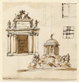 Vertical rectangle. At left: a gateway leading to a house. The door is flanked by embedded Ionic columns and receding panels and pilasters. Above is a framed inscription tablet flanked by alternatively suggested motifs, an urn at left, a figure at right. Seated genii support a papal escutcheon, on top. Below, at right: a circular pavilion stands upon a rock from which water pours. Horses and mermen are shown upon lower laterally protruding parts of the rock. Part of a plan and a plan of a square structure are above, lines of a plan at the bottom. Part of a plan, crayon, covers the entire sheet.