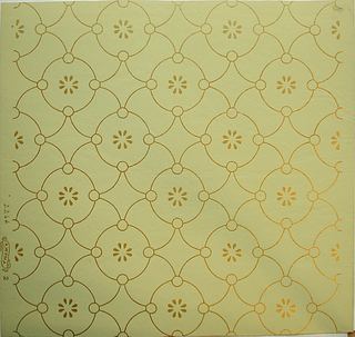 "Circle motif containing stylized flower, connected by diamond shape, printed in gold on light yellow ground. Samples wallpaper ""Easton's Castle"" Aberdeen, S.D."