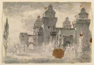 Horizontal rectangle. Square castle with towers at the corners. Unfinished figures acting in the foreground. The action takes place before the ducal castle of Ferrara, probably indicating a play about the Este family.