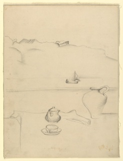 Drawing, Still Life with View of Lake Geneva