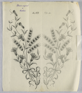 """Vertical rectangle. Designs of abstract floral patterns for panels and borders. Each drawing stamped at top: """"Dessin original a broderie."""" Designs numbered 183 (N)"""