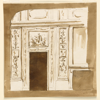Drawing, Wall with door, flanking panels and fireplace